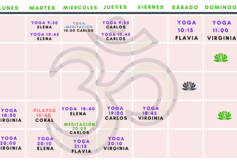 Calendario clases online abril-respirayoga