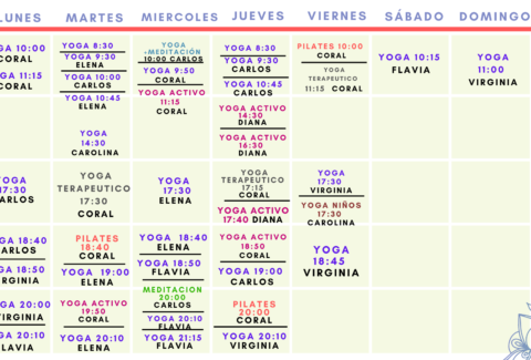 Calendario clases presenciales abril-respirayoga
